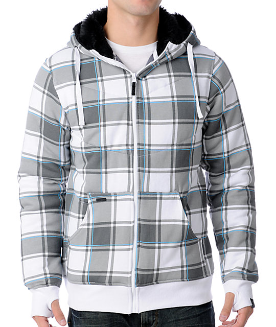 Empyre Alpine White & Grey Plaid Sherpa Hoodie