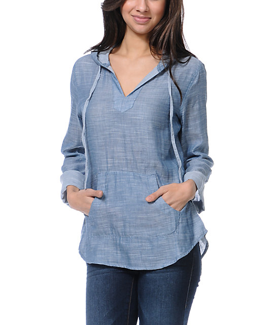 Empyre Alta Chambray Indigo Hooded Shirt