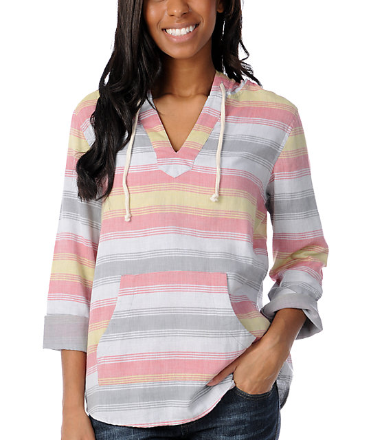 Empyre Alta Peach Striped Poncho