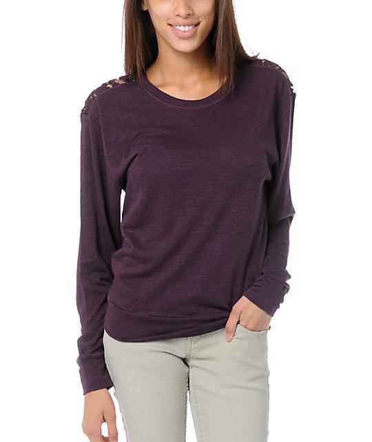 Empyre Amelia Blackberry Purple Lace Top