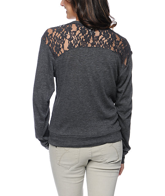 Empyre Amelia Charcoal Lace Top