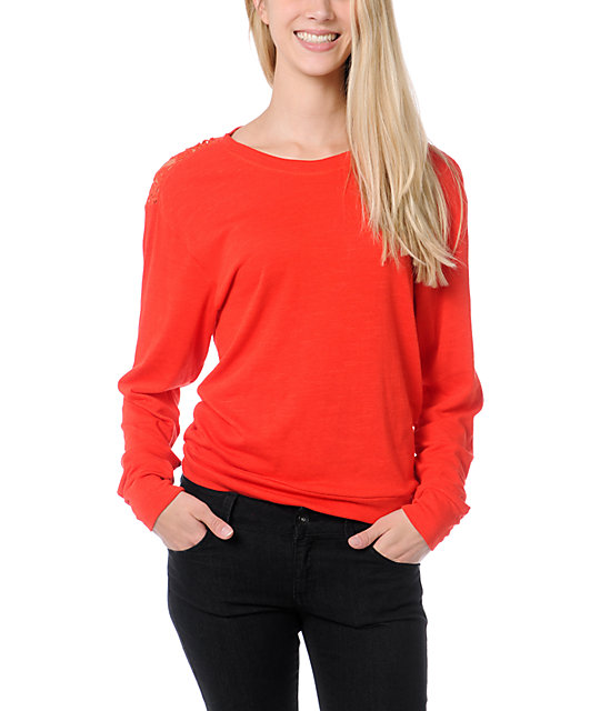 Empyre Amelia Fiery Red Lace Top