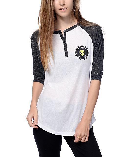 Empyre Amie Black & White Alien Patch Henley Baseball T-Shirt