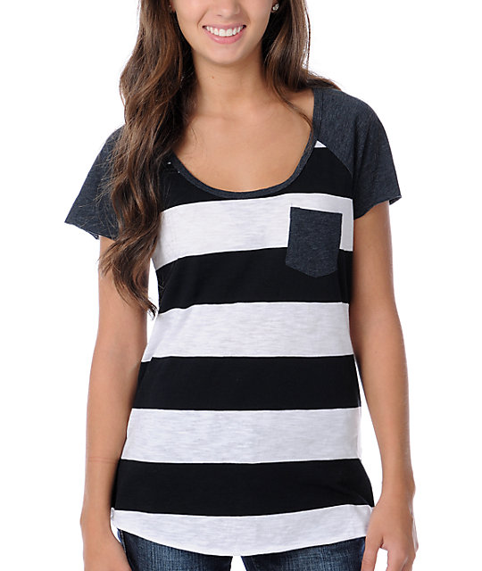 Empyre Anthracite Black Stripe Baseball Tee