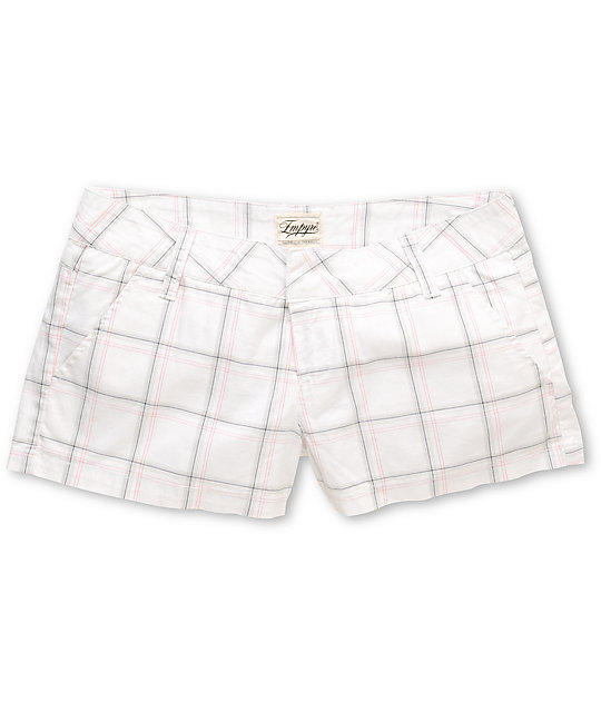 Empyre Arcadia 2.5 White & Grey Plaid Shorts