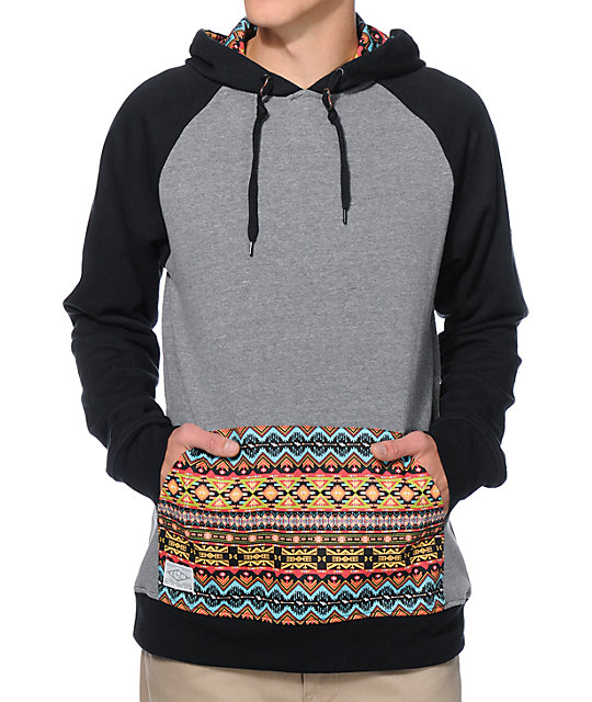 Empyre Argent Charcoal & Black Print Pocket Pullover Hoodie