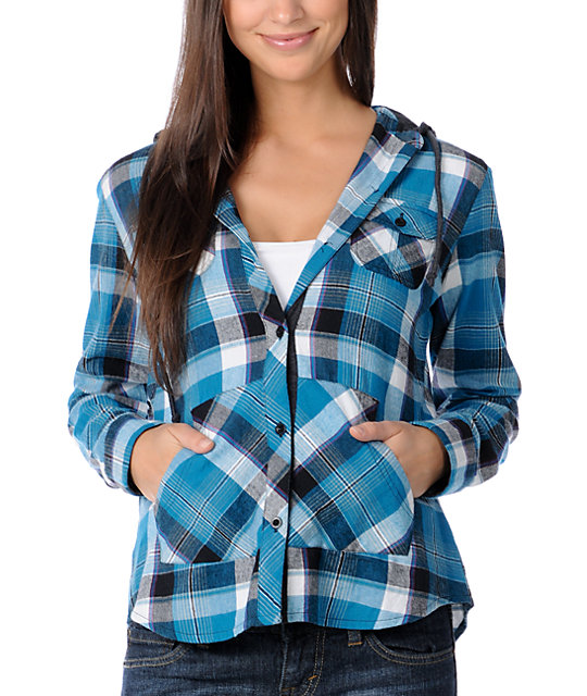 Empyre Arroyo Blue Hooded Flannel Shirt