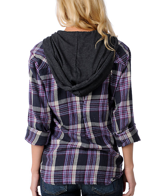 Empyre Arroyo Purple Hooded Flannel Shirt
