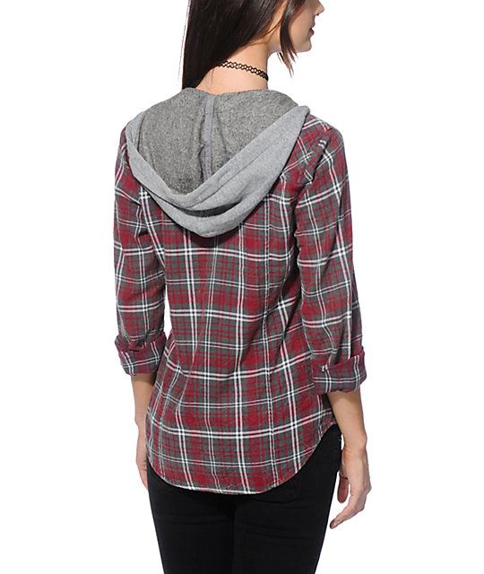 Empyre astor red crinkle wash hooded flannel shirt zumiez for How to wash flannel shirts