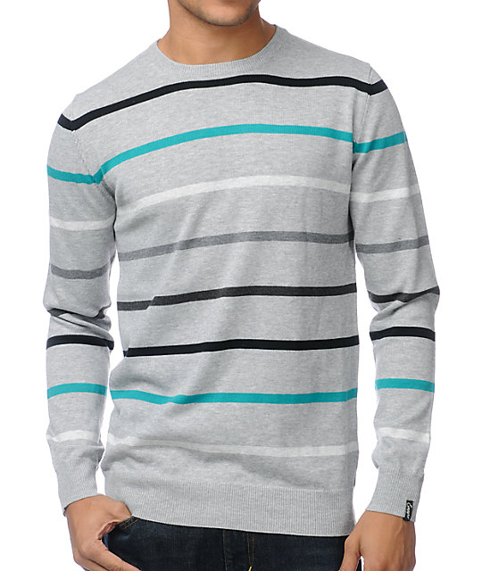 Empyre Attack Grey Stripe Crew Neck Sweater