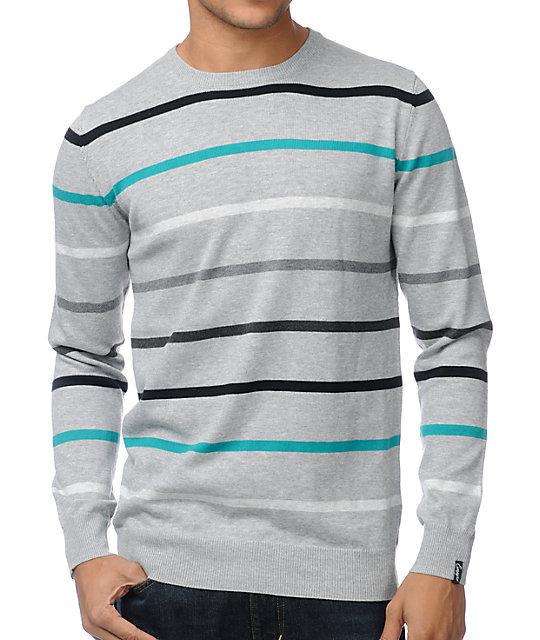Empyre Attack Grey Stripe Crew Neck Sweater