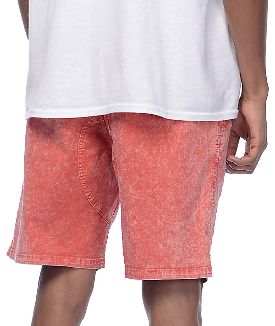Empyre Atticus Red Acid Washed Chino Shorts