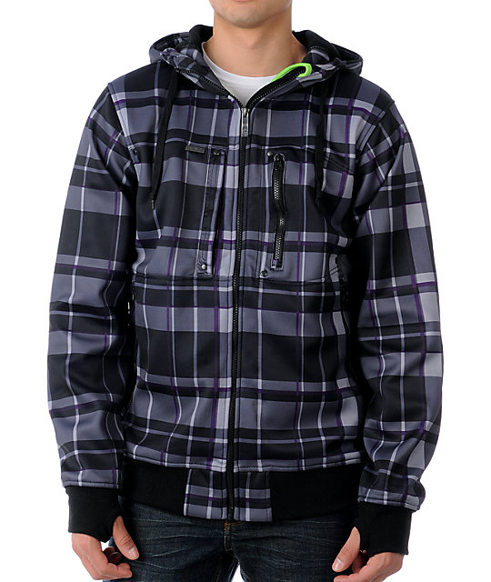Empyre Audiofile Black & Purple Plaid Tech Fleece Jacket
