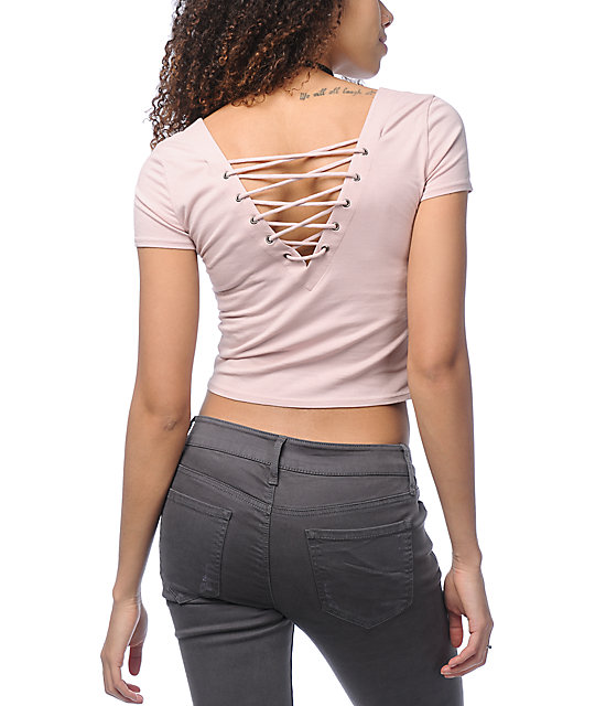 Empyre Autumn Vibes Lace Up Mauve Crop Top