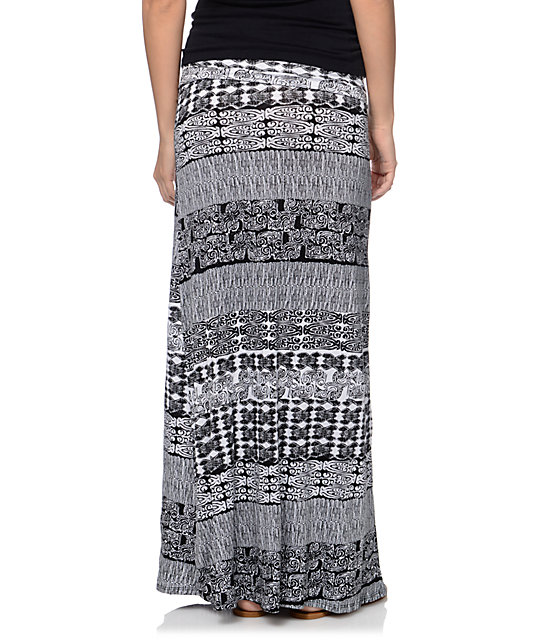 Empyre Aztec Black & White Tribal Print Maxi Skirt