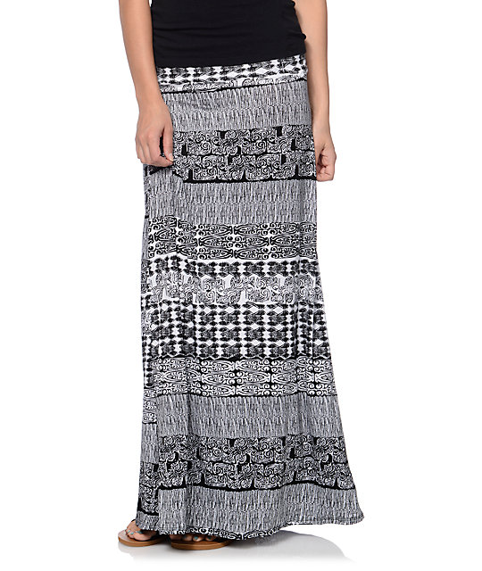 Aztec Black & White Tribal Print Maxi Skirt
