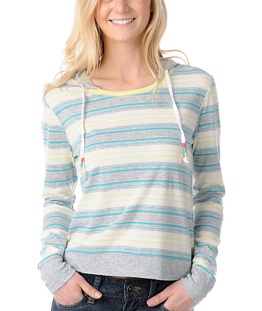 Empyre Bainbridge Grey Stripe Knit Pullover Hoodie