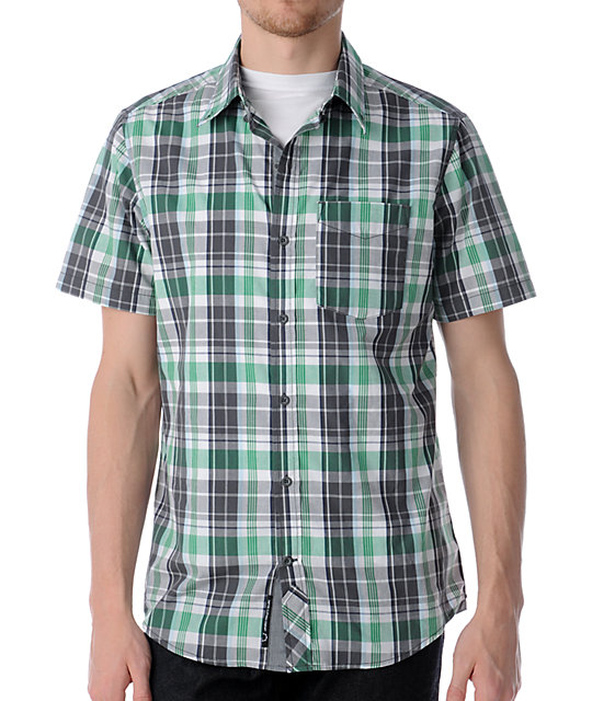 Empyre Bake Green Plaid Button Up Shirt
