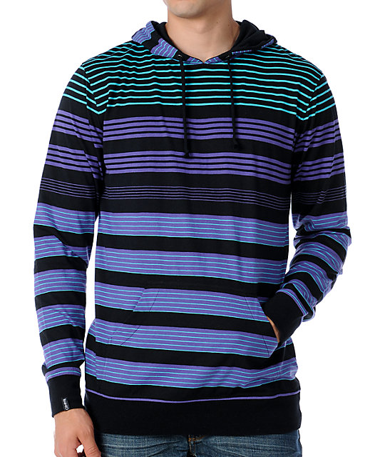 Empyre Baranoff Black Stripe Knit Pullover Hooded Shirt