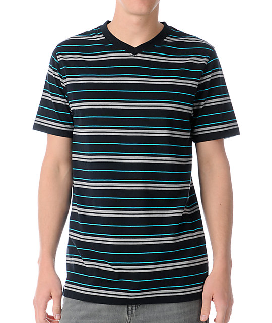 Empyre Barred Black Stripe V-Neck T-Shirt