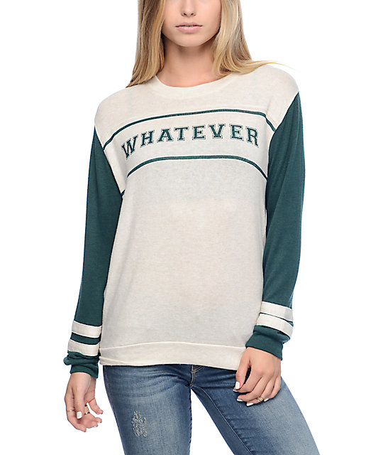 Empyre Bay Whatever Varsity Green Crewneck Sweatshirt