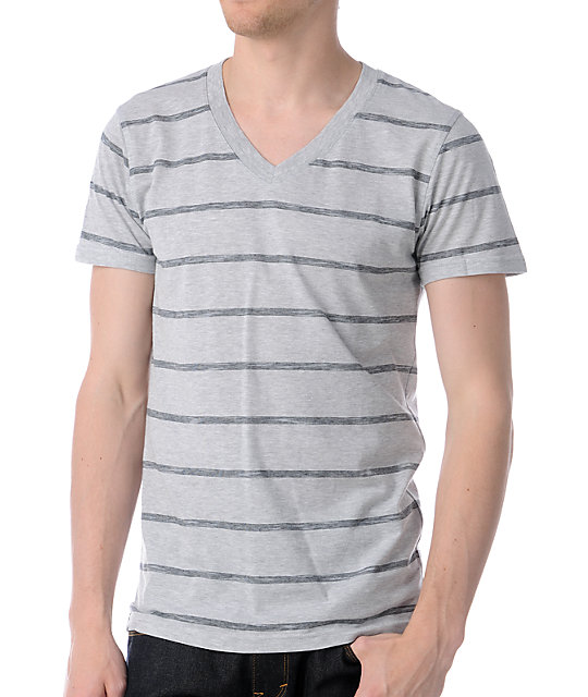 Empyre Beatbox Heather Grey & Black Striped V-Neck T-Shirt