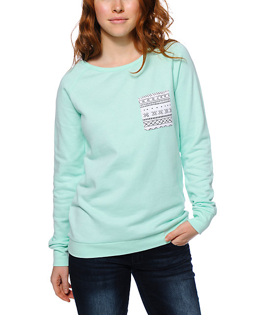 Empyre Beau Tribal Pocket Mint Crew Neck Sweatshirt