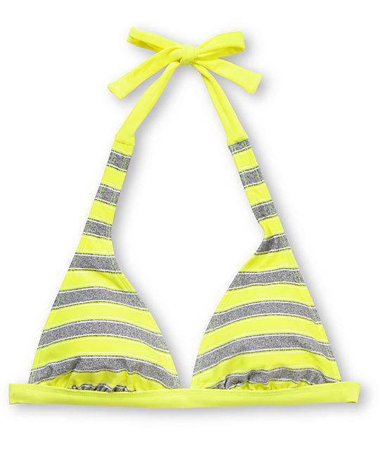Empyre Bennet Neon Yellow Fixed Halter Bikini Top