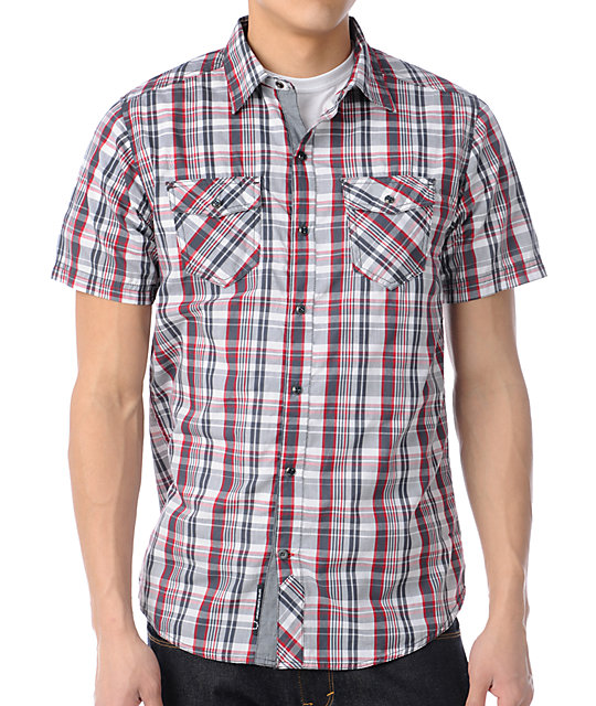 Empyre Biff Red Plaid Button Up Shirt