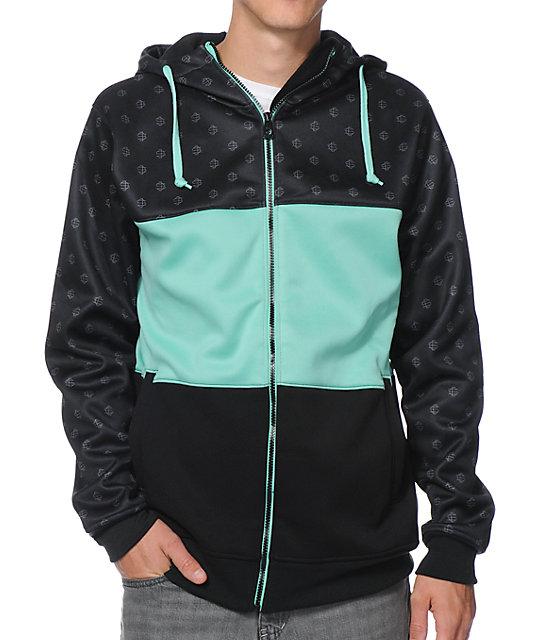 Big Mouth Monogram Black & Teal Tech Fleece Hooded Jacket