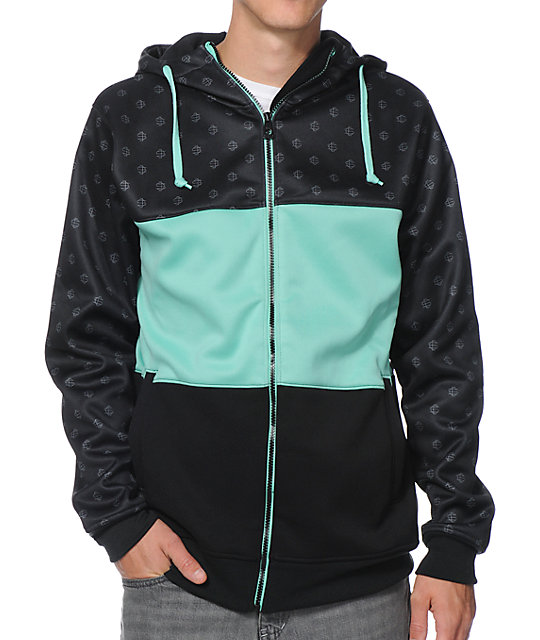 Empyre Big Mouth Monogram Black & Teal Tech Fleece Hooded Jacket ...