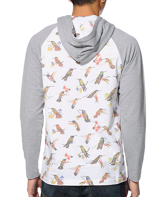 Empyre Birdman White & Grey Long Sleeve Hooded Henley Shirt