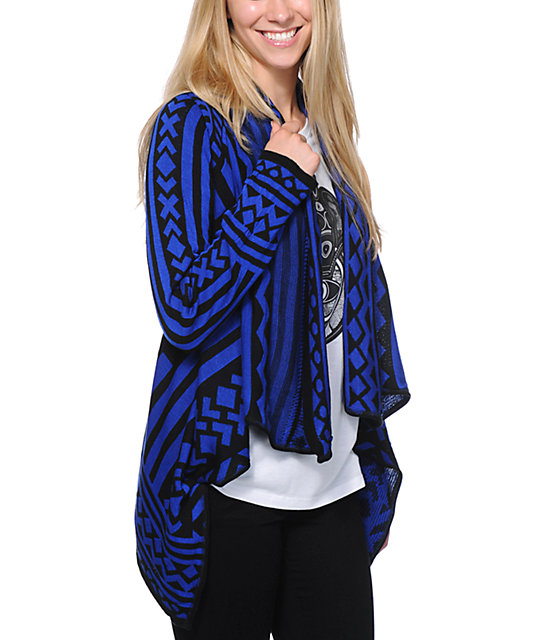 Empyre Black & Blue Tribal Print Wrap Sweater
