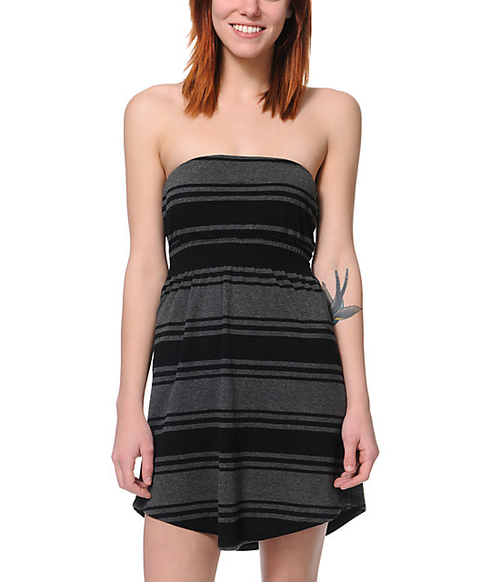 Empyre Black & Charcoal Stripe Strapless Dress