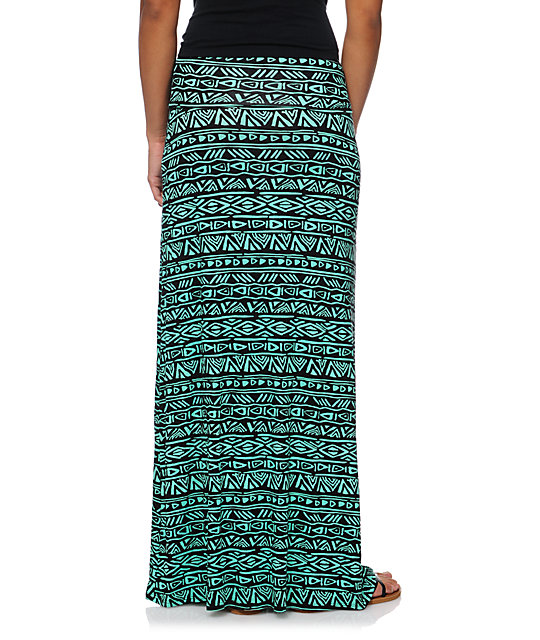Empyre Black & Mint Tribal Print Maxi Skirt