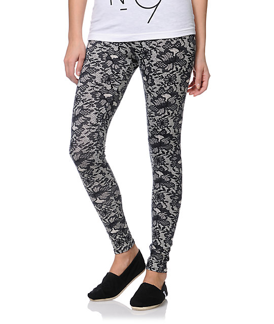 Empyre Black & White Lace Print Leggings