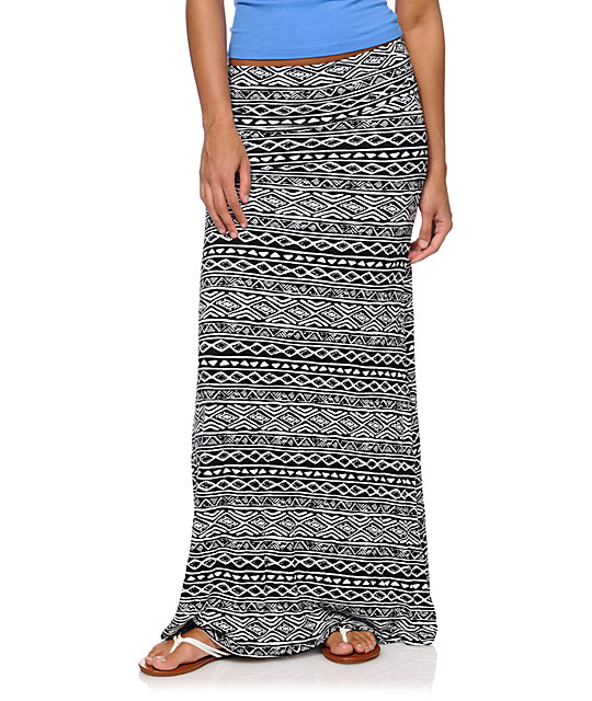 Empyre Black & White Tribal Print Maxi Skirt