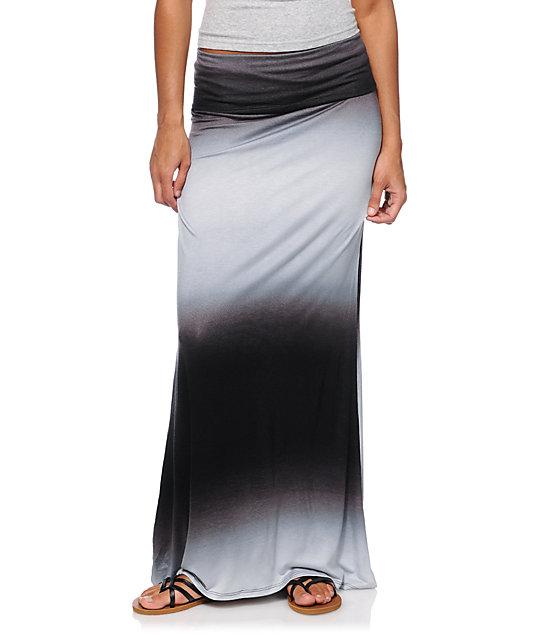 Empyre Black & Grey Ombre Maxi Skirt at Zumiez : PDP