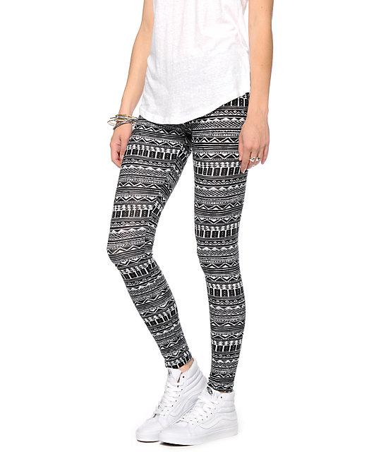 Empyre Black & White Tribal Print Jersey Leggings