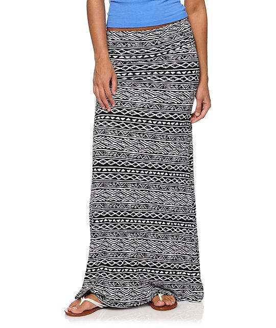 Black & White Tribal Print Maxi Skirt