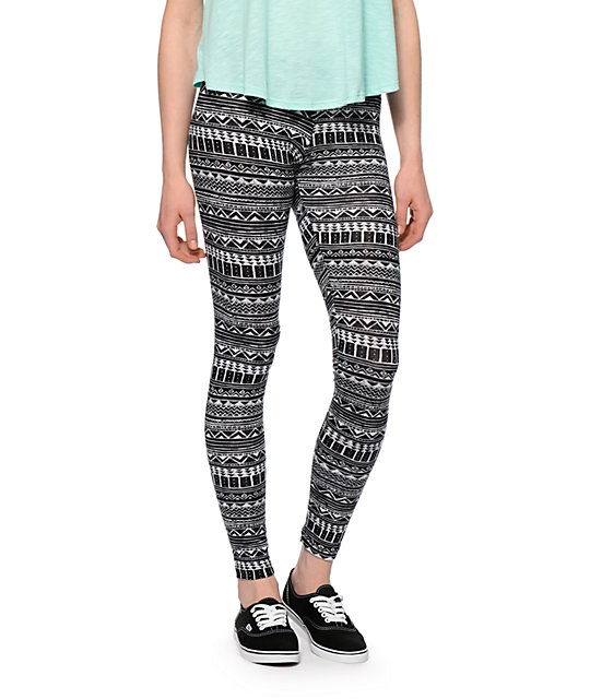 Empyre Black & White Tribal Print Leggings at Zumiez : PDP