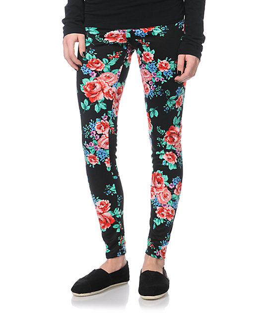 Empyre Black Floral Print Leggings