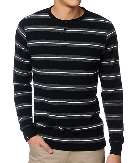 Black Striped Long Sleeve Thermal Shirt