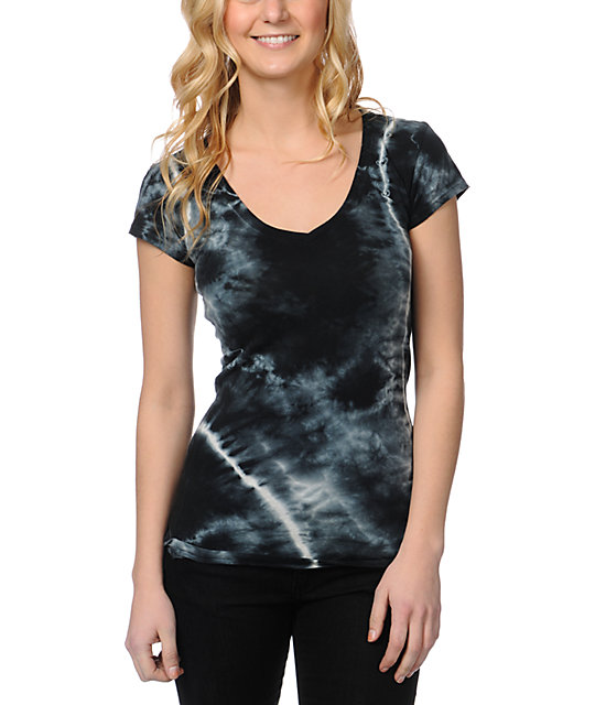 Empyre Black Tie Dye V-Neck T-Shirt