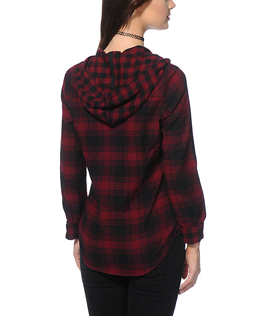 Womens Hooded Flannel Shirt