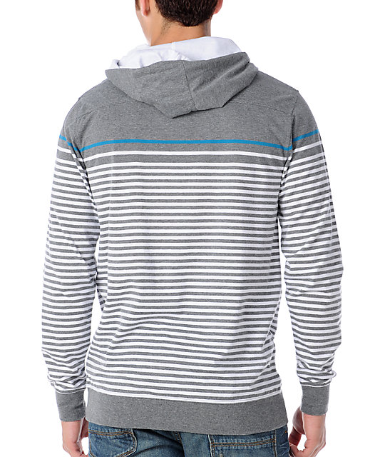 Empyre Blanks Grey Stripe Knit Pullover Hooded Shirt