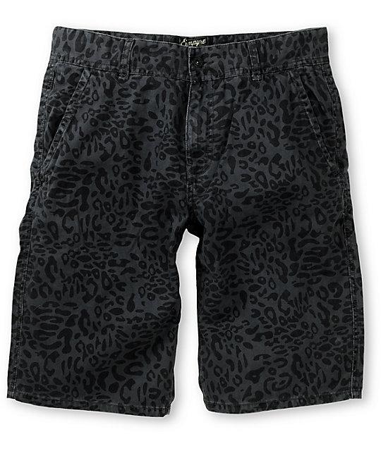 Empyre Bobby Chop Cheetah Charcoal Chino Shorts