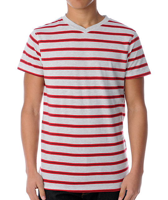 Empyre Boomerang Grey & Red Striped V-Neck T-Shirt