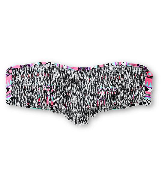 Empyre Bora Bora Tribal Stripe Fringe Bandeau Bikini Top