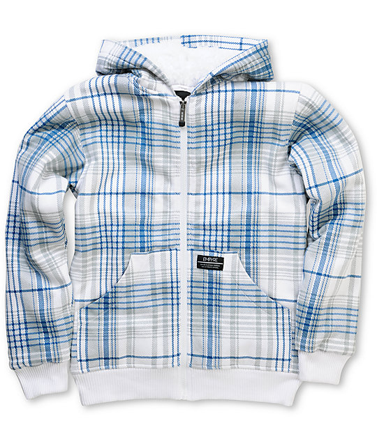 Empyre Boys Aardwolf White & Blue Plaid Sherpa Fleece Hoodie